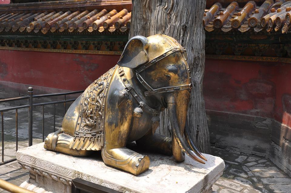Elephant, China, Temple, Asia, Statue, Gold