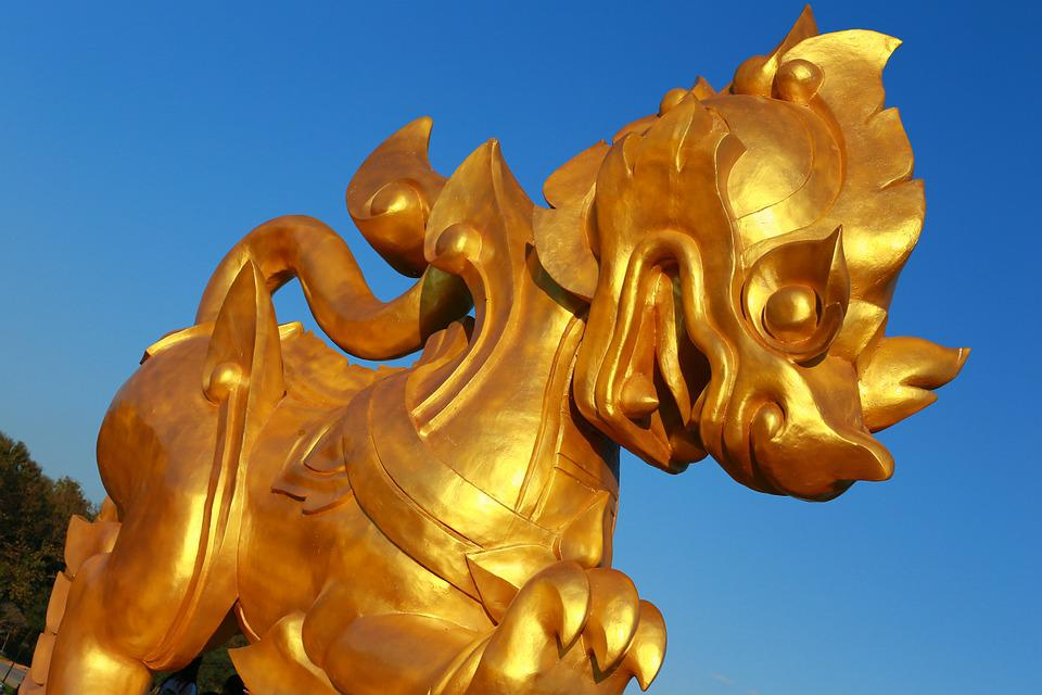 Leo, Statue, Thailand, Gold