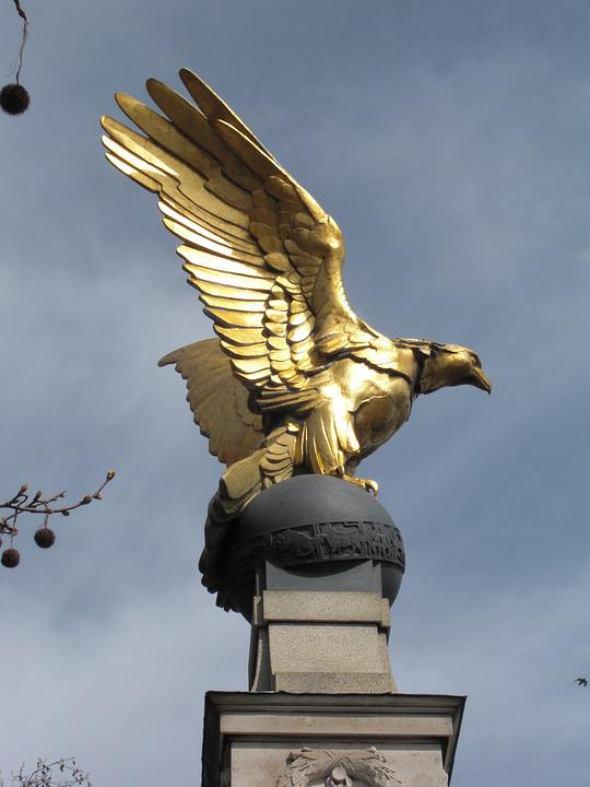 Bird, Statue, Gold, London, England, United Kingdom