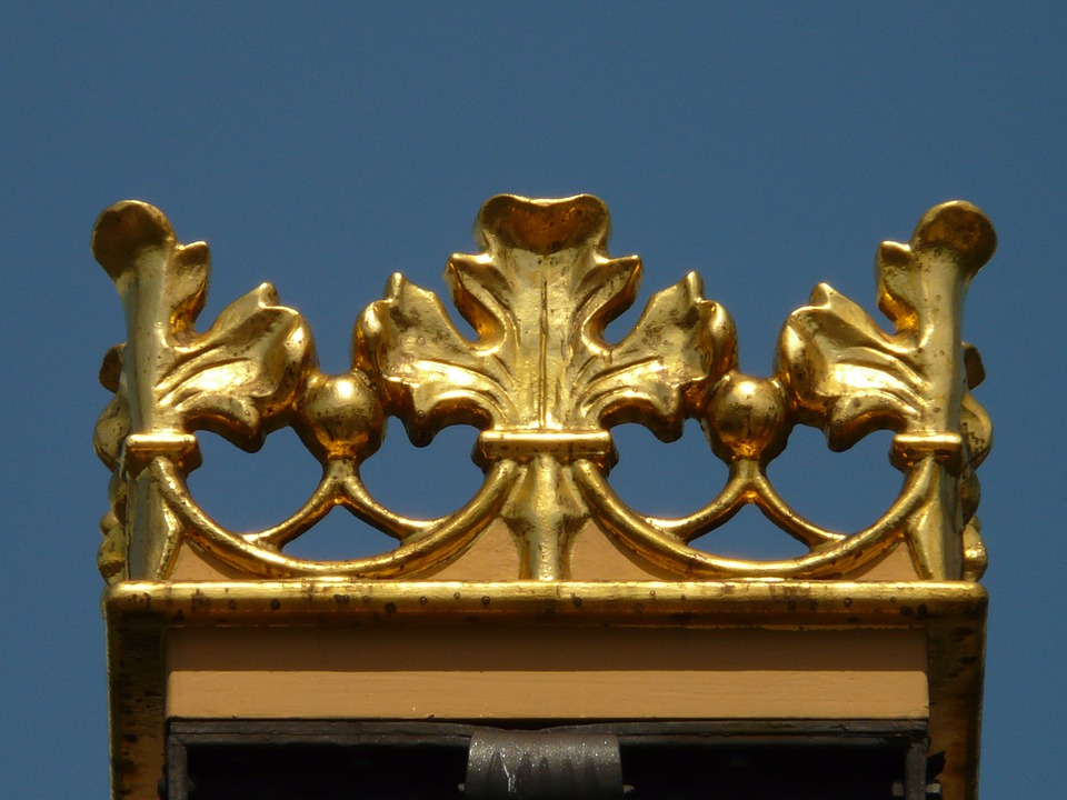 Crown, Metal, Gold, Iron, Sky, Blue, Valuable, Shiny