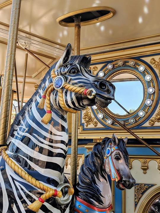 Carousal, Carnival, Zebra, Gold