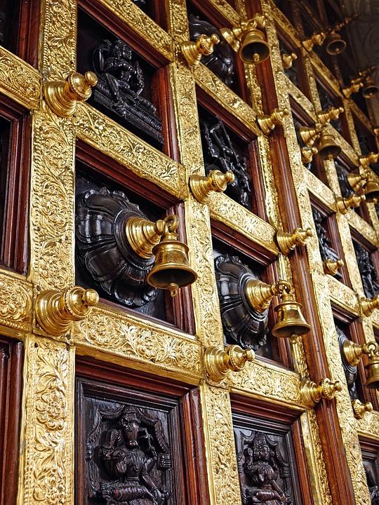 Hindu Temple, Bells, Wooden, Door, Architecture, Golden