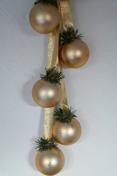 Christmas Decoration, Glaskugeln, Golden