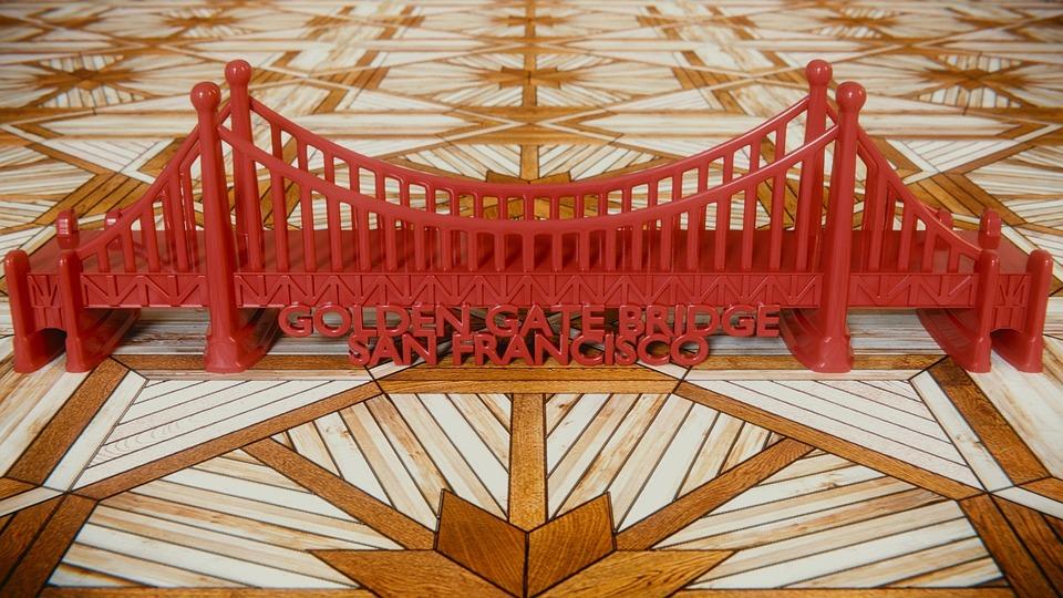 Golden Gate Bridge, Blender, 3d, Toys, Red, Wood Floor