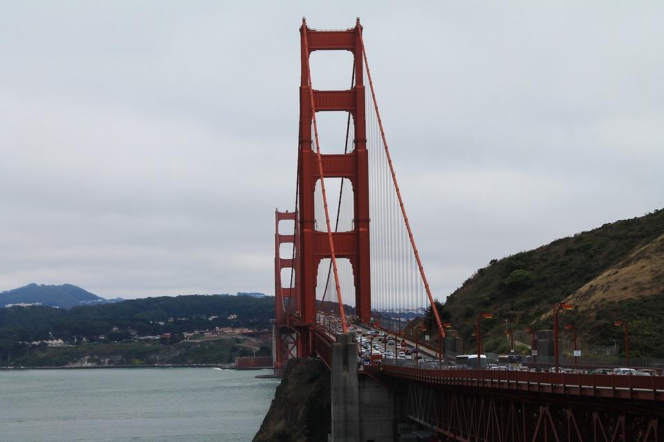 Golden Gate Bridge, Bridge, Red, San Francisco