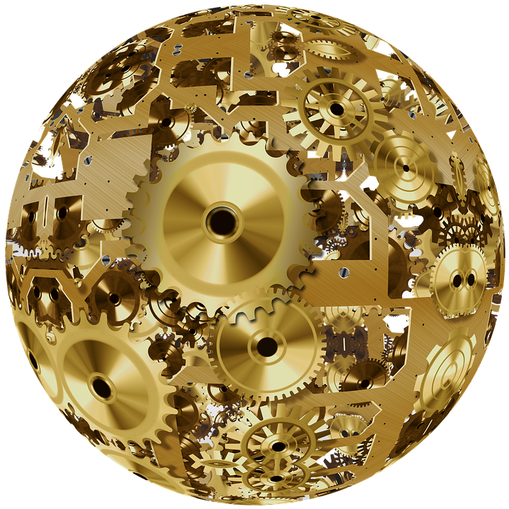 Clock, Ball, Round, Movement, Time, Gear, Gears, Golden