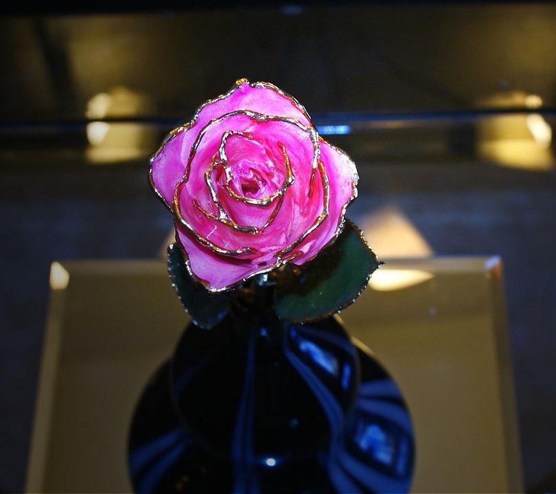 Rose, Lacquer, Flower, Gold, Golden, Decoration, Love