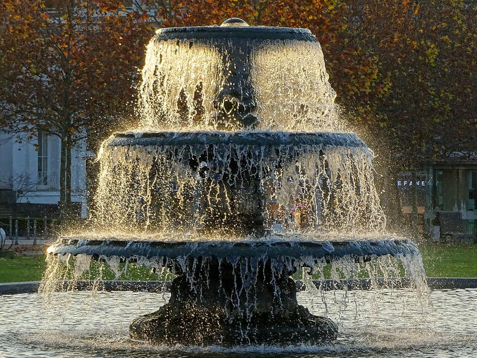 Wiesbaden, Fountain, Autumn, Golden, Cityscape