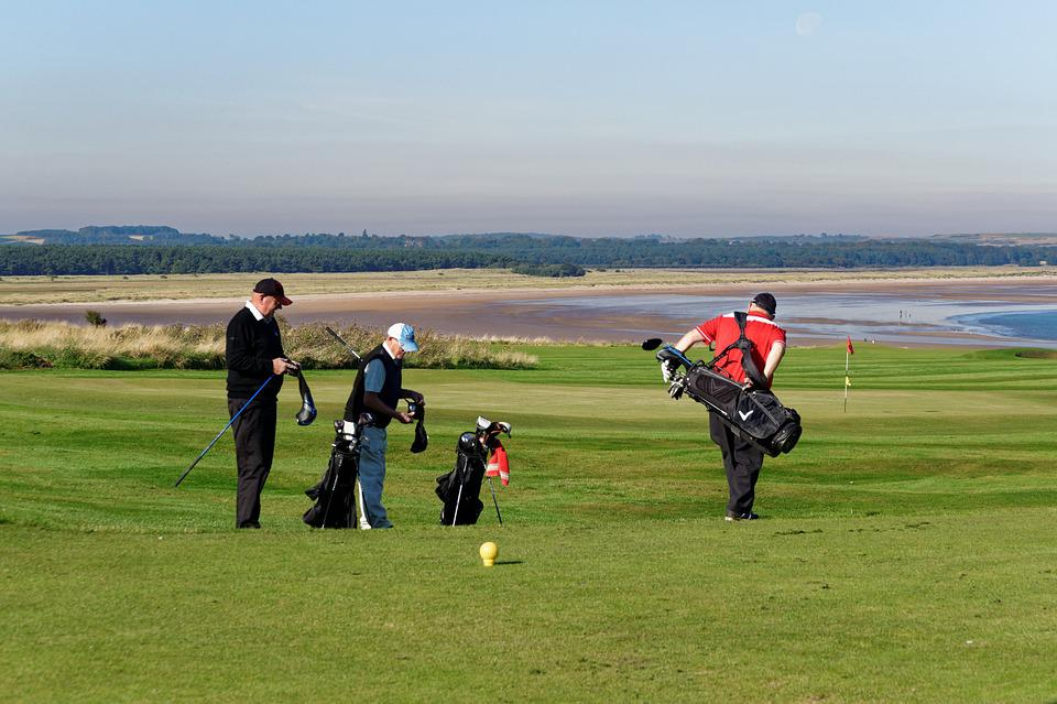 Golfers, Men, People, Golf Bags, Golf Clubs, Scenery