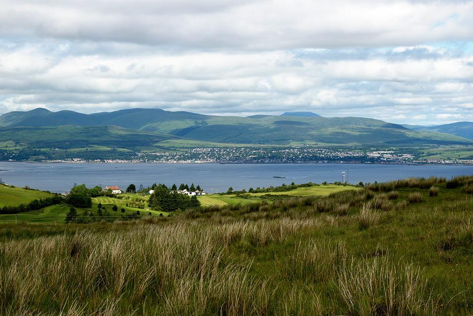 River Clyde, Hills, Landscape, Golf Course, Sky, Clouds