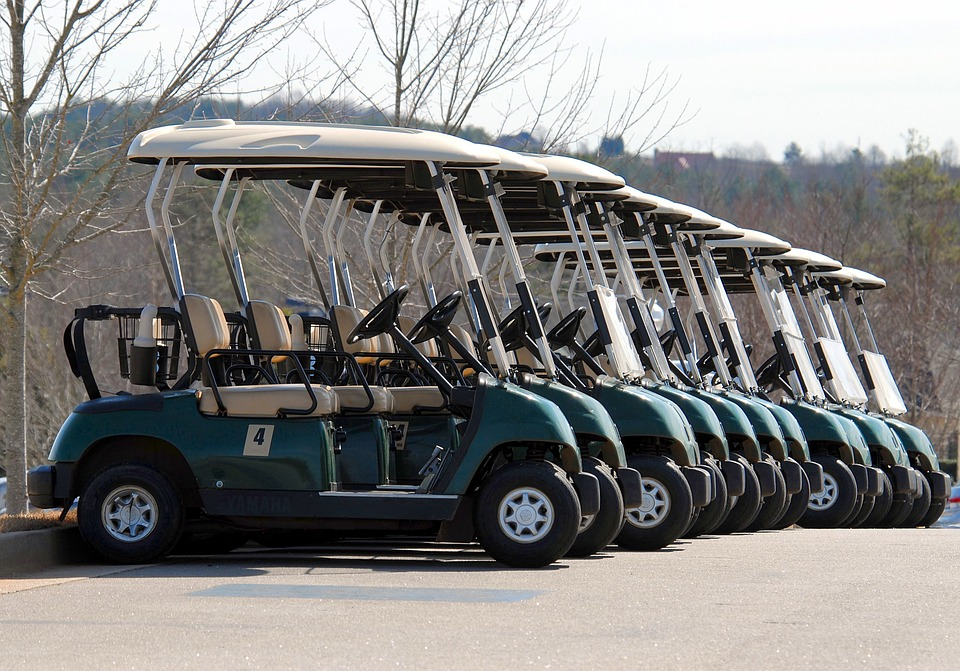 Golf Carts, Golf, Parked, Golf Course, Transportation