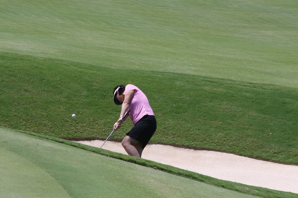 Golf, Bunker, Woman, Sand, Golf Ball, Golf Course