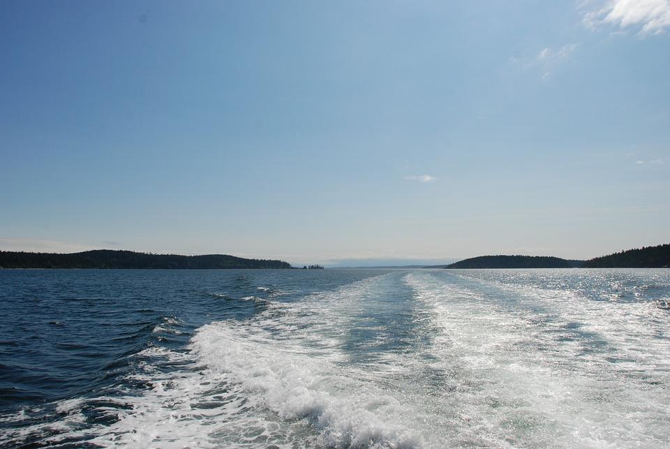 Water, Foam, White, Wake, Boat, Golf, Horizon