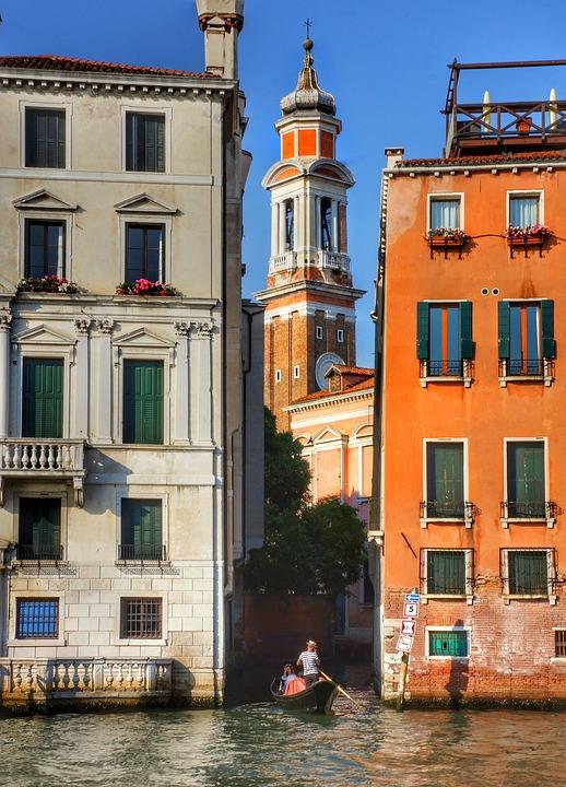 Evening, Venice, Gondola, Tourists, Canal, Architecture