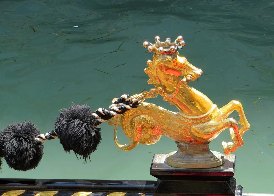 Venice, Gondola, Detail, Decor, Hippocampus, Gold
