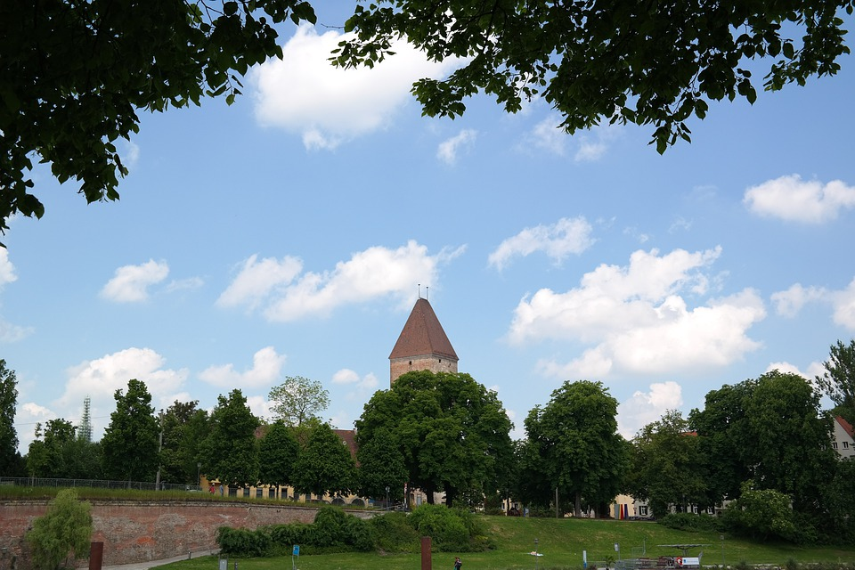 Tower, Ulm, Goose Tower, Pink Square, Pitched Roof