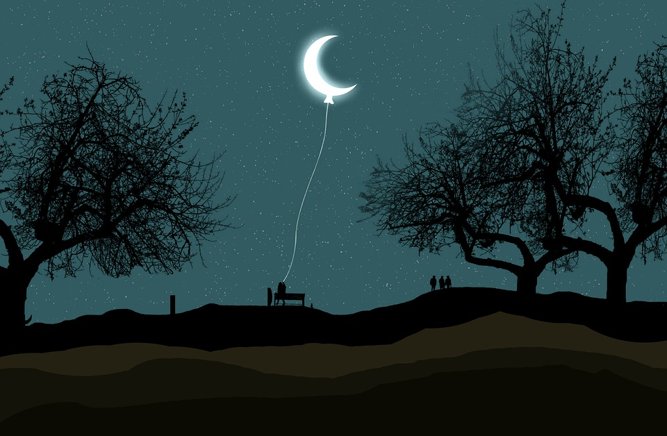 Crescent, Moon, Balloon, Night, Star, Moonlight, Gorge