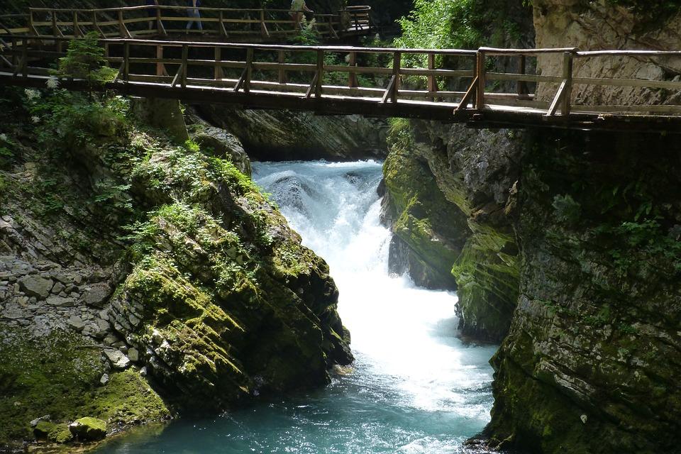 Stream, Fast, Nature, Gorge, Wooden Bridge, See