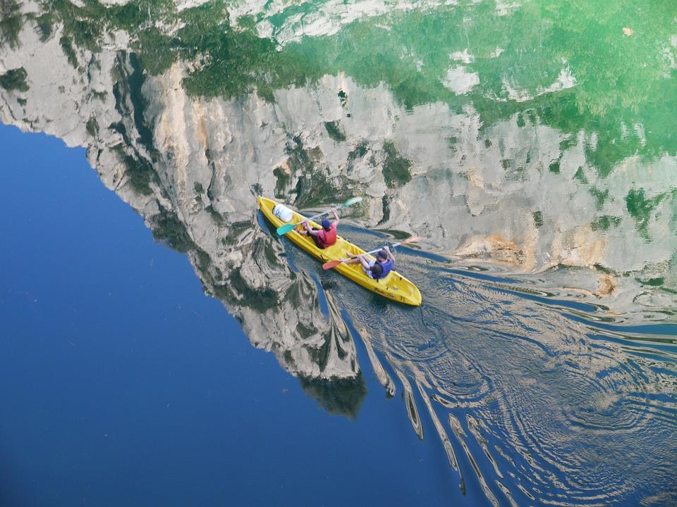 Gorges You Verdon, Kayak, Drive, Mirroring, Rock Wall