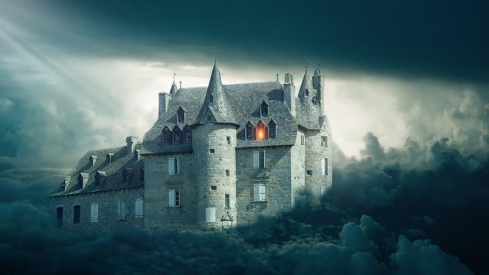 Castle, Clouds, Sky, Light, Fantasy, Dark, Gothic, Goth