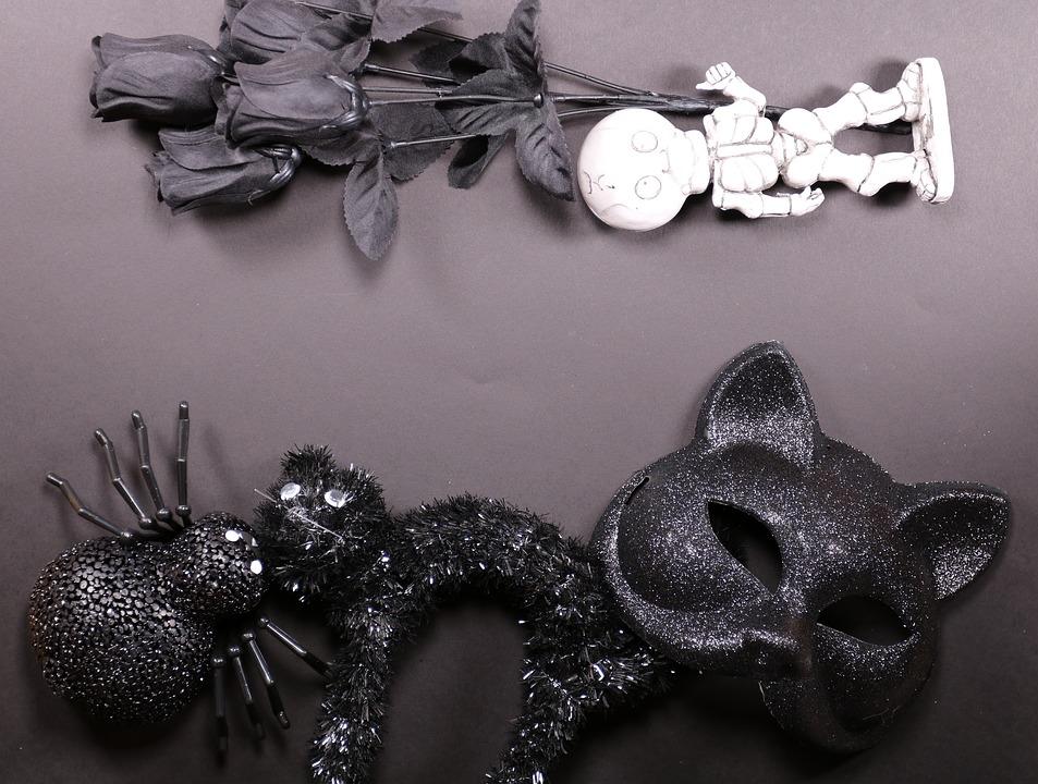 Halloween, Black, Gothic, Fantasy, Horror, Cat, Bat