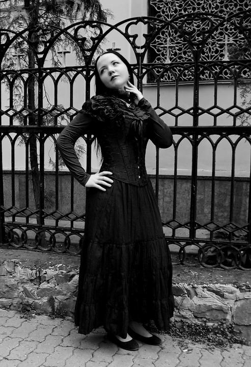 Lady, Romantic, Gothic, Photography, Black-and-white