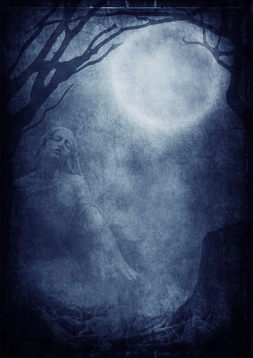 Sculpture, Moon, Trees, Background Image, Night, Gothic