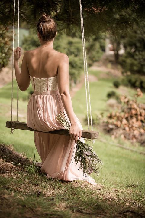 Woman, Swing, Dress, Bouquet, Long Dress, Gown, Fashion