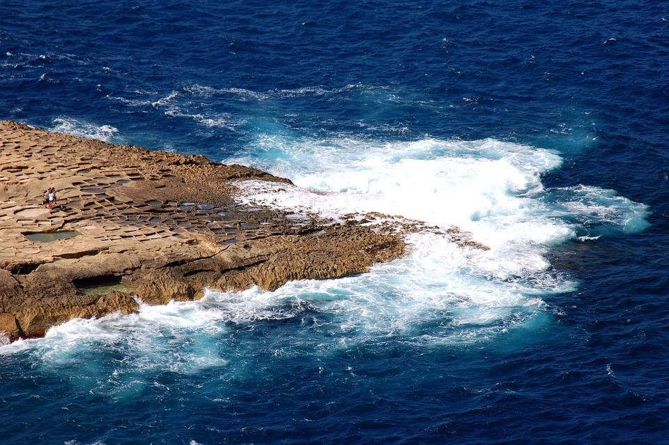 Gozo, Malta, Sea, Coast, Rocky Coast, Surf, Water, Blue