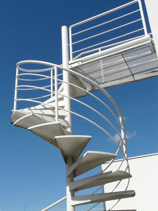 Stairs, Gradually, Rise, Railing, Sky, White, Blue