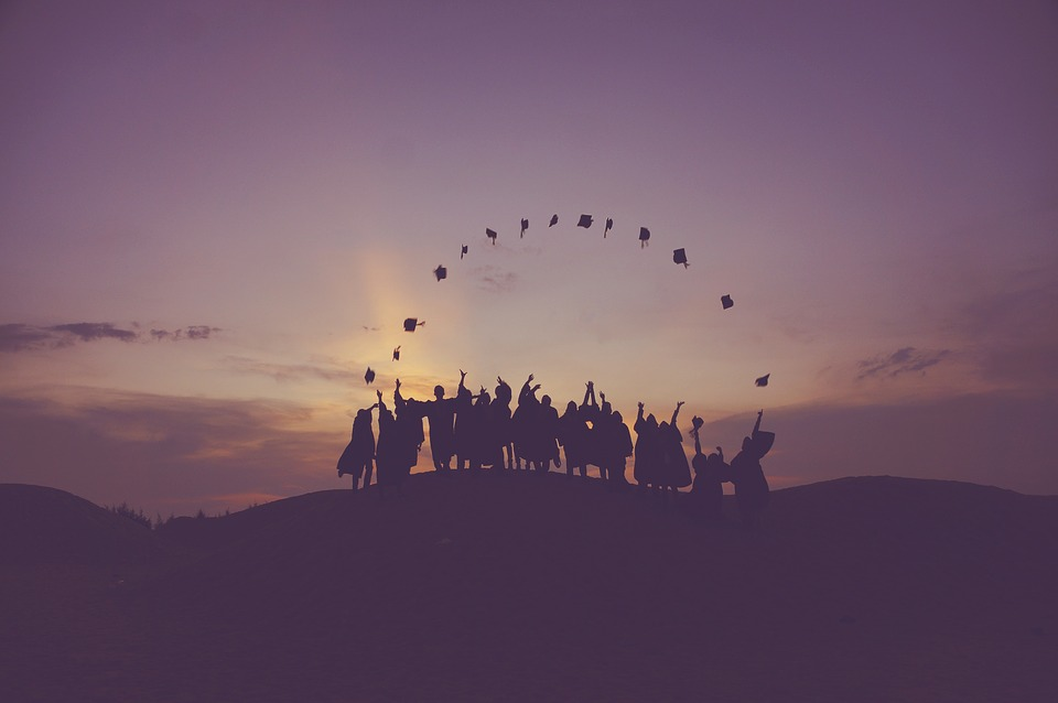 Dawn, Dusk, Graduates, Hill, People, Silhouette