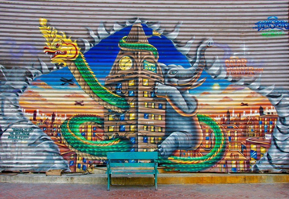 Graffiti, Bank, Wall, Colorful, Color, Dragons