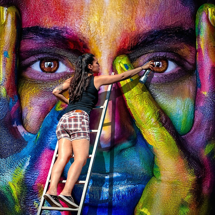 Wall Art, Spray, Graffiti, Woman, Color, Colorful, Head