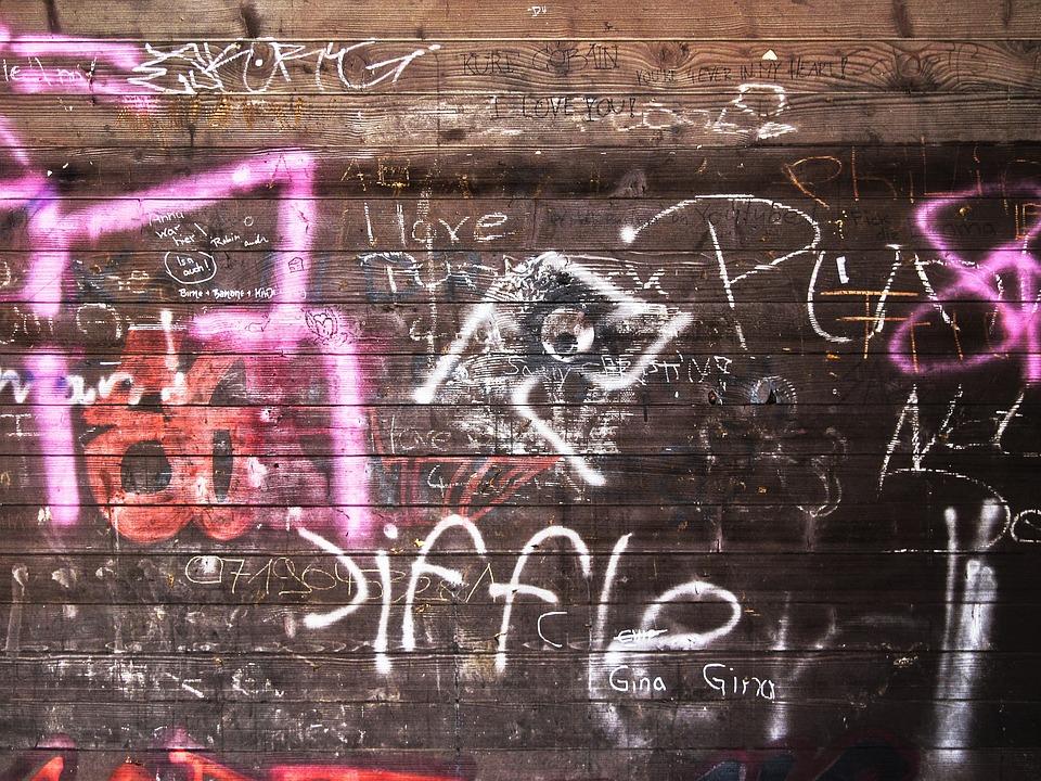 Wood, Boards, Profile Wood, Wooden Wall, Graffiti, Font