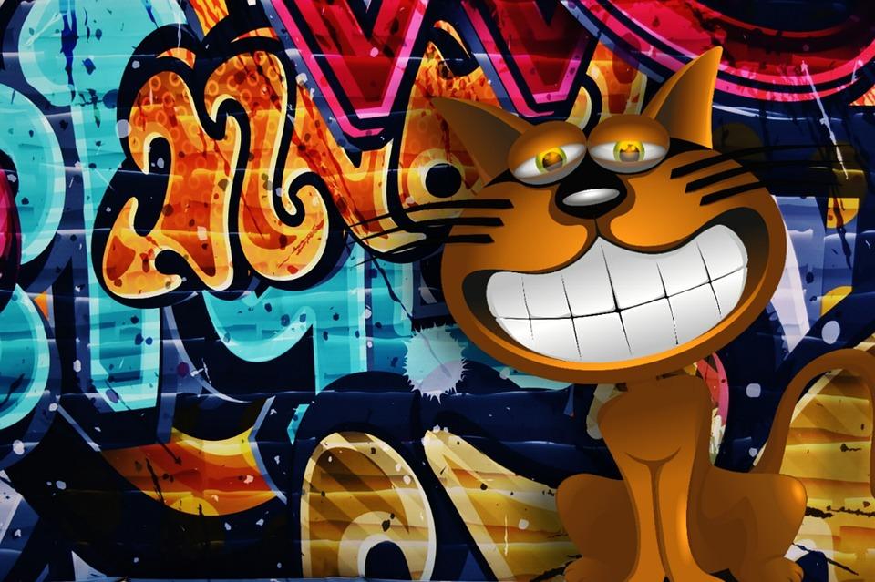 Graffiti, Colorful, Cat, Funny