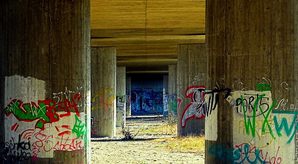 Bridge Piers, Underpass, Graffiti, Neglected