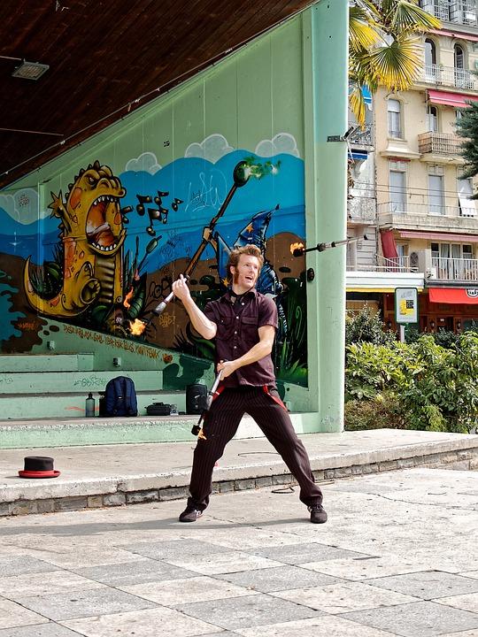 Acrobat, Fire, Juggler, Artist, Road, Artists, Graffiti