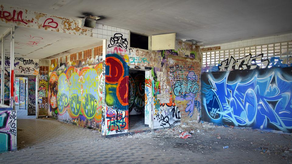 Lost Places, Ruin, Graffiti, Industrial Building, Leave