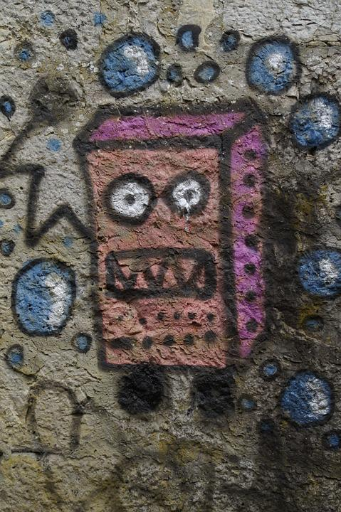 Sponge Bob, Graffiti, Sprayer, Sprayed, Wall Painting