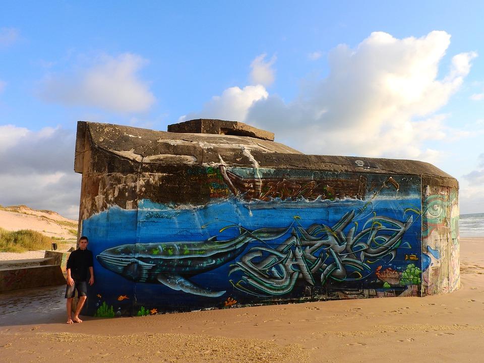 Bunker, Beach, Grafitti, Médoc, France, Atlantic