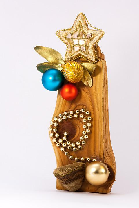 Christmas Decorations, Decoration, Wood, Grain, Mica