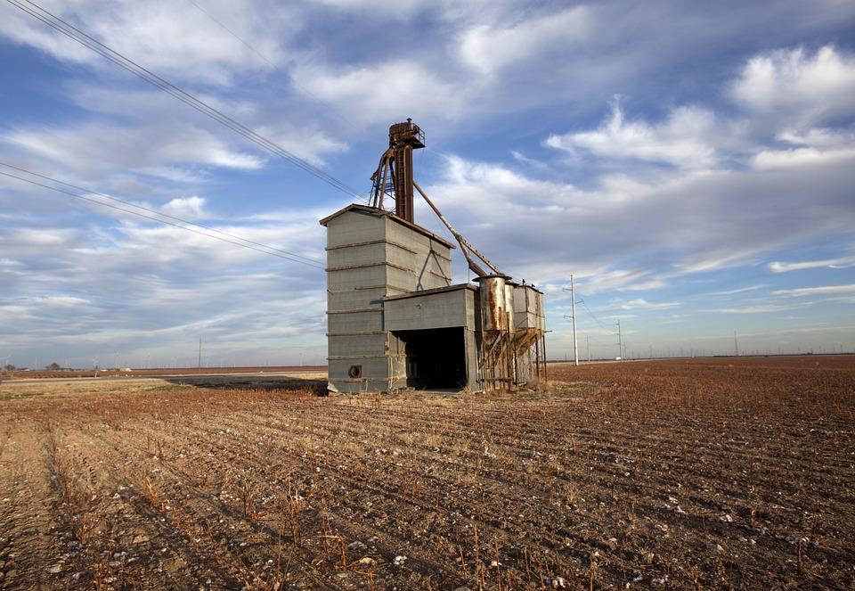 Landscape, Texas, Grain Elevator, Agriculture