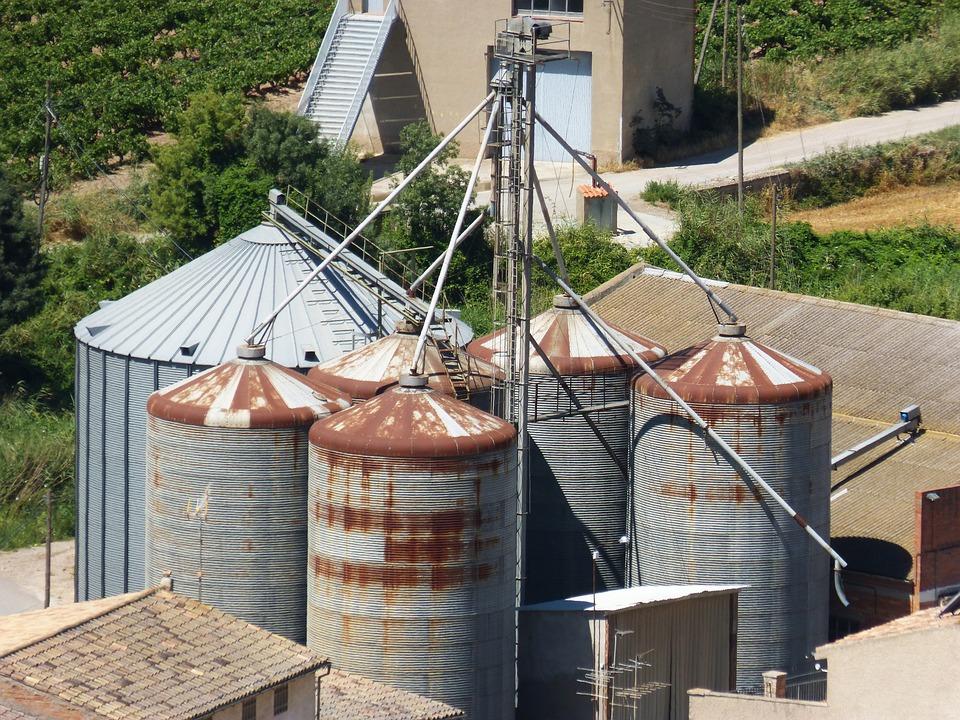 Silos, Old, Worn, Grain, Rural