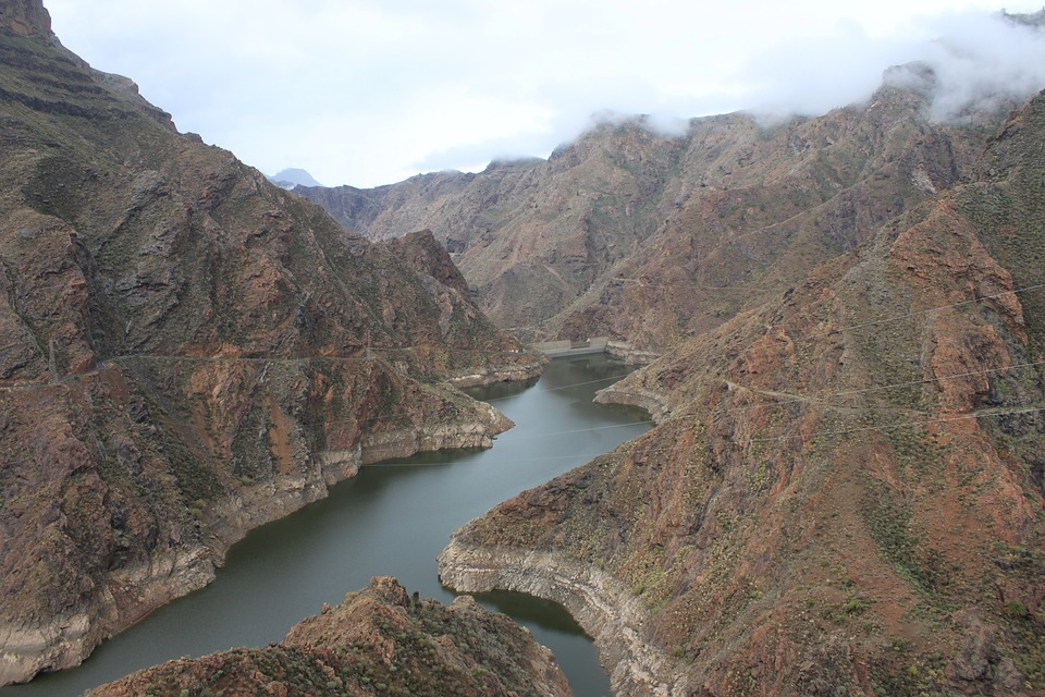 Reservoir, Parralillo, Gran Canaria, Canyon, Lake
