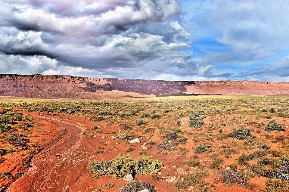Grand Canyon, Desert, Mountains, Clouds, Landscape, Usa