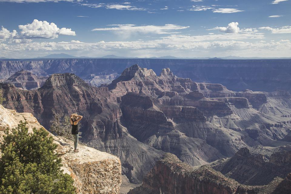 Grand Canyon, Woman, Awe, Arizona, People, Nature
