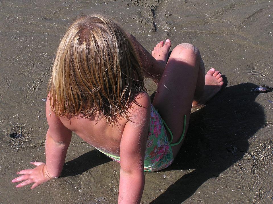 Beach, Child, Girl, Granddaughter, Summer, Sea