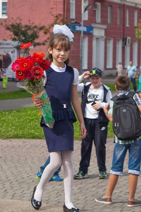 First-grader, Flowers, Granddaughter