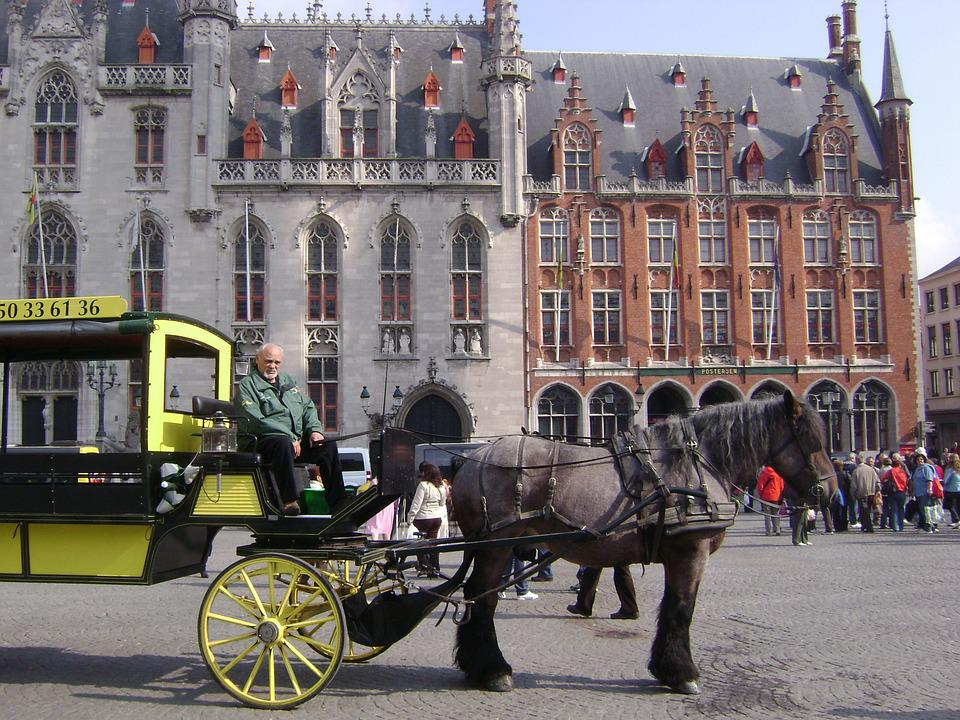 Bruges, Horse, Cart, Grandfather, Horse Cart, Tourism