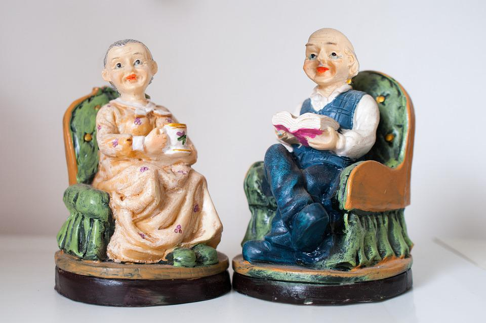 Toy, Grandmother, Grandfather, Decoration, Pair, Couple